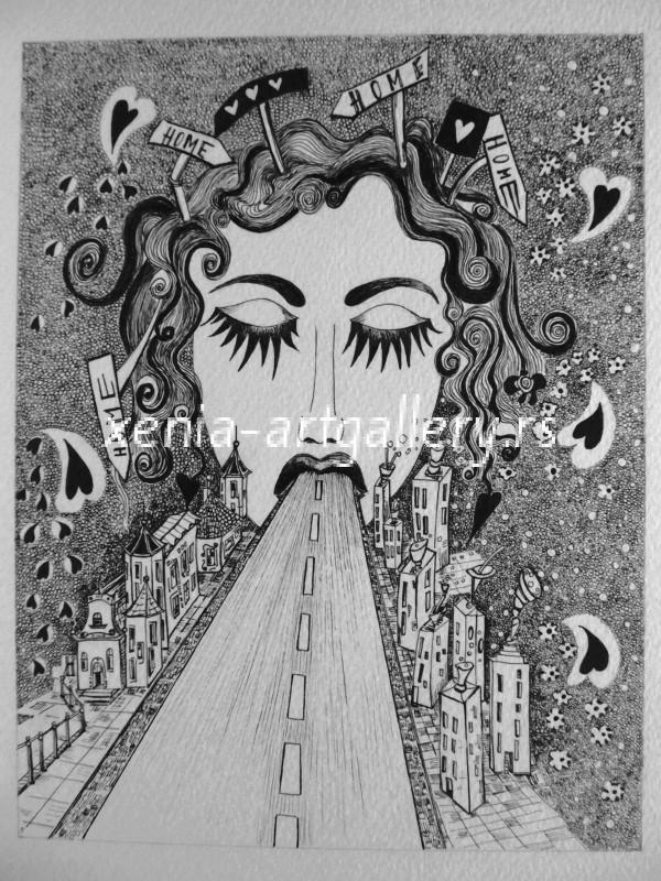 15 Roadina, india ink, paper 17x22 cm