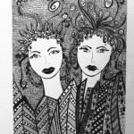 3 Meduses, india ink, paper 12x18cm