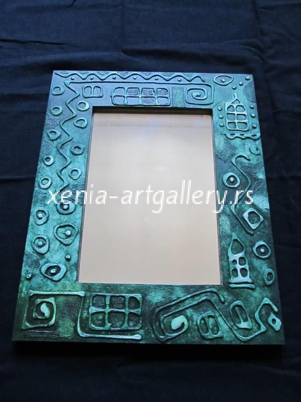 14 Wooden frame, combined technique, oil 40x32 cm