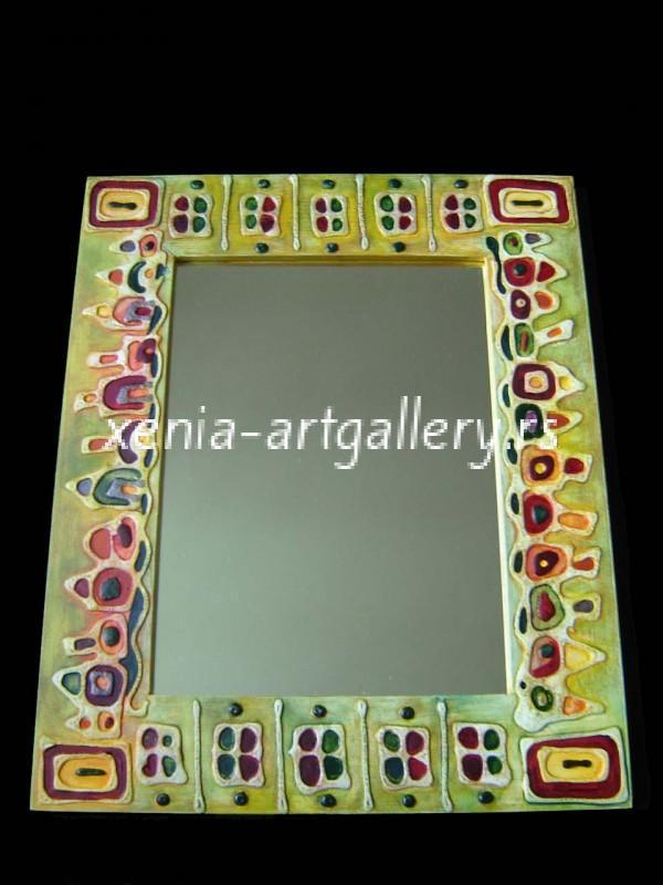 6 Wooden frame, combined technique, oil 44x36 cm